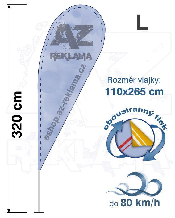 Muší křídlo tvar Kapka, do 80km/h, výška 335cm - L oboustranný tisk - SET bez stojanu A-Z Reklama CZ