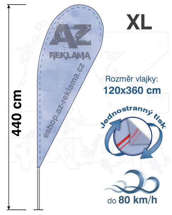 Muší křídlo tvar Kapka, do 80km/h, výška 430cm - XL jednostranný tisk - SET bez stojanu A-Z Reklama CZ