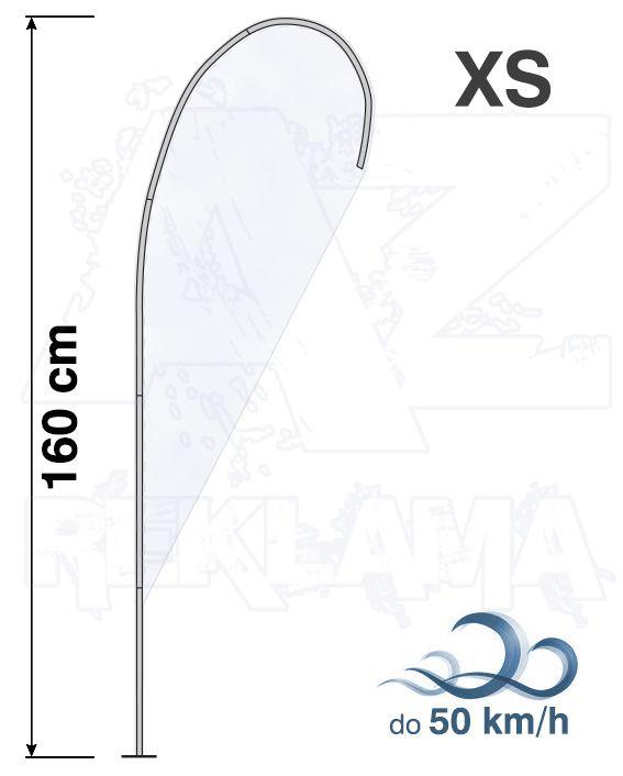 Muší křídlo tvar Kapka, výška 160cm - XS samotná nosná konstrukce bez stojanu a vlajky
