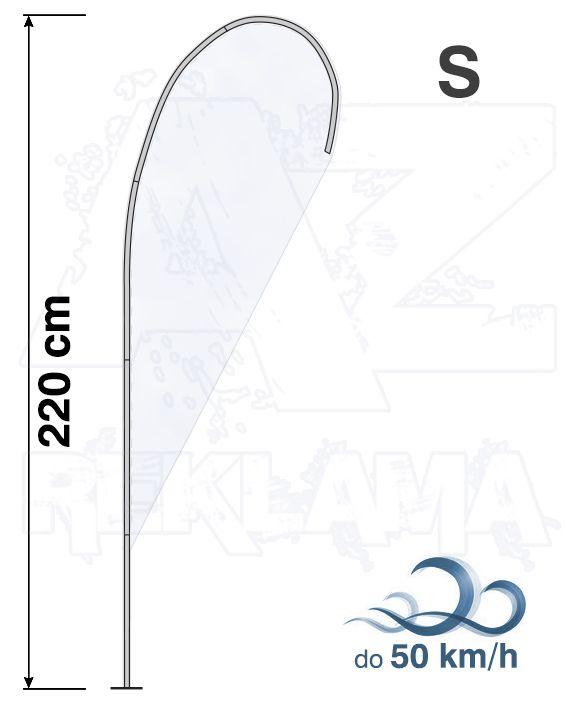Muší křídlo tvar Kapka, výška 220cm - S samotná nosná konstrukce bez stojanu A-Z Reklama CZ