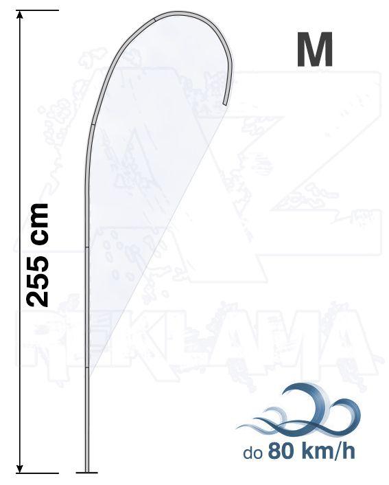 Muší křídlo tvar Kapka, výška 255cm - M samotná nosná konstrukce bez stojanu A-Z Reklama CZ