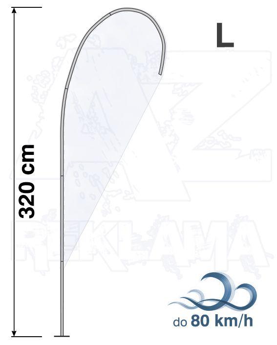 Muší křídlo tvar Kapka, výška 335cm - L samotná nosná konstrukce bez stojanu A-Z Reklama CZ