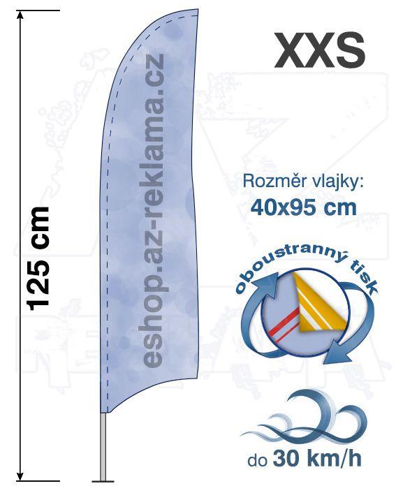Muší křídlo tvar Konkava, do 30km/h, výška 125cm - XXS oboustranný tisk - SET bez stojanu A-Z Reklama CZ