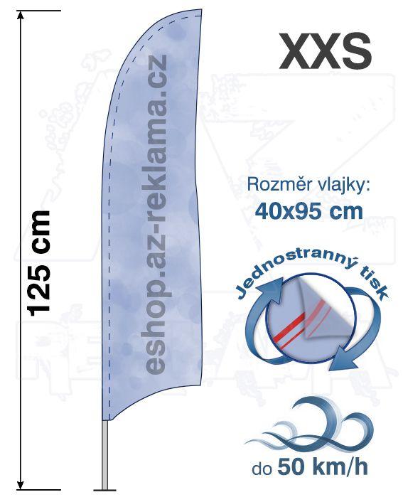 Muší křídlo tvar Konkava, do 50km/h, výška 125cm - XXS jednostranný tisk - SET bez stojanu A-Z Reklama CZ