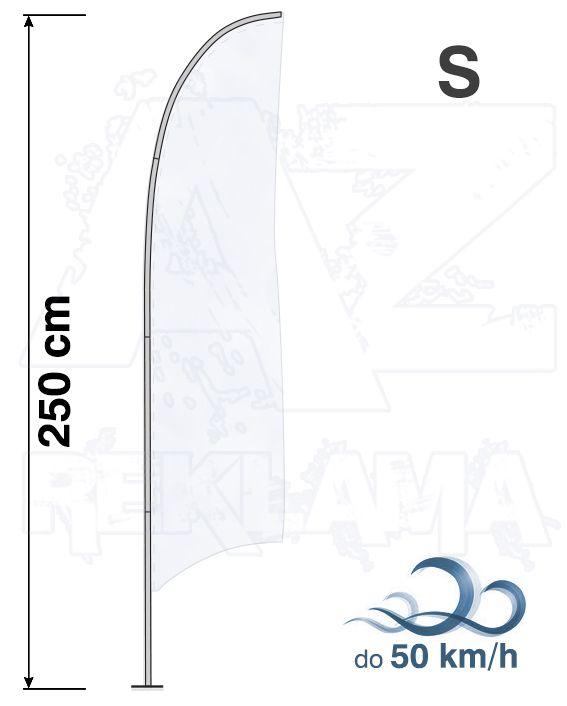 Muší křídlo tvar Konkava, výška 250cm Basic - S samotná nosná konstrukce bez stojanu a vlajky A-Z Reklama CZ