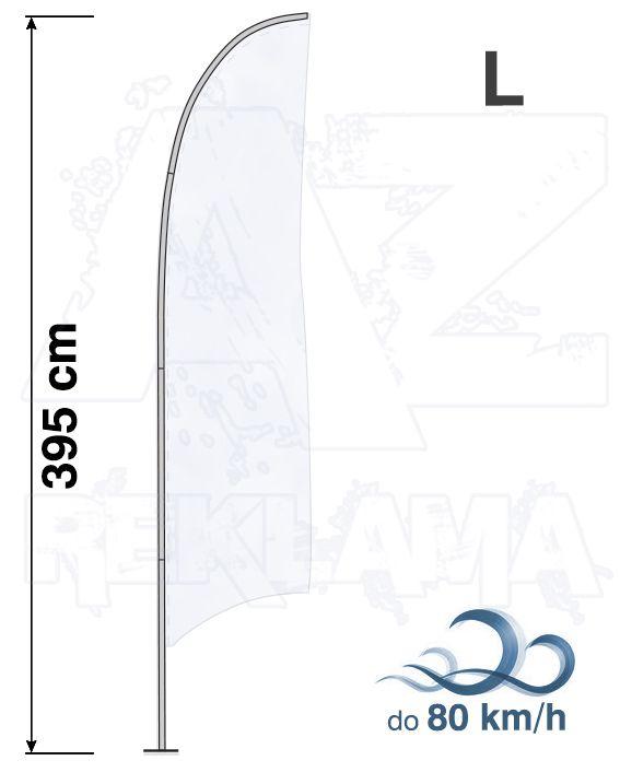 Muší křídlo tvar Konkava, výška 410cm - L samotná nosná konstrukce bez stojanu A-Z Reklama CZ