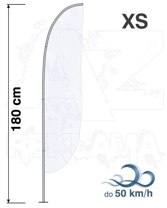 Muší křídlo tvar Konvex, výška 180cm - XS samotná nosná konstrukce bez stojanu a vlajky