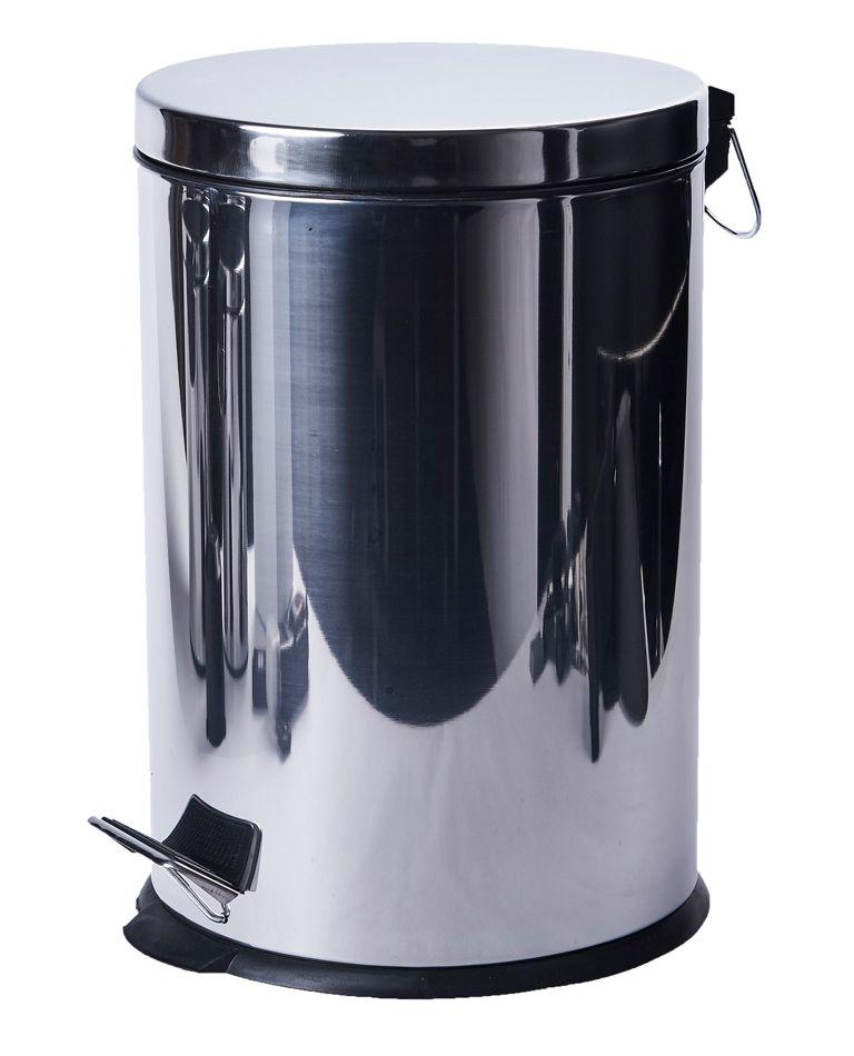 Kovový odpadkový koš 20 litrů s pedálem - Nerez lesk