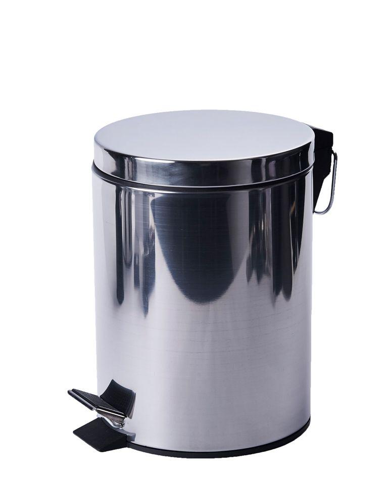 Kovový odpadkový koš 5 litrů s pedálem - Nerez lesk