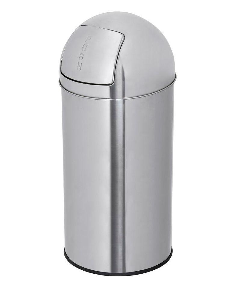 Odpadkový Koš s výkyvným víkem PUSH, Objem 50 l, nerez