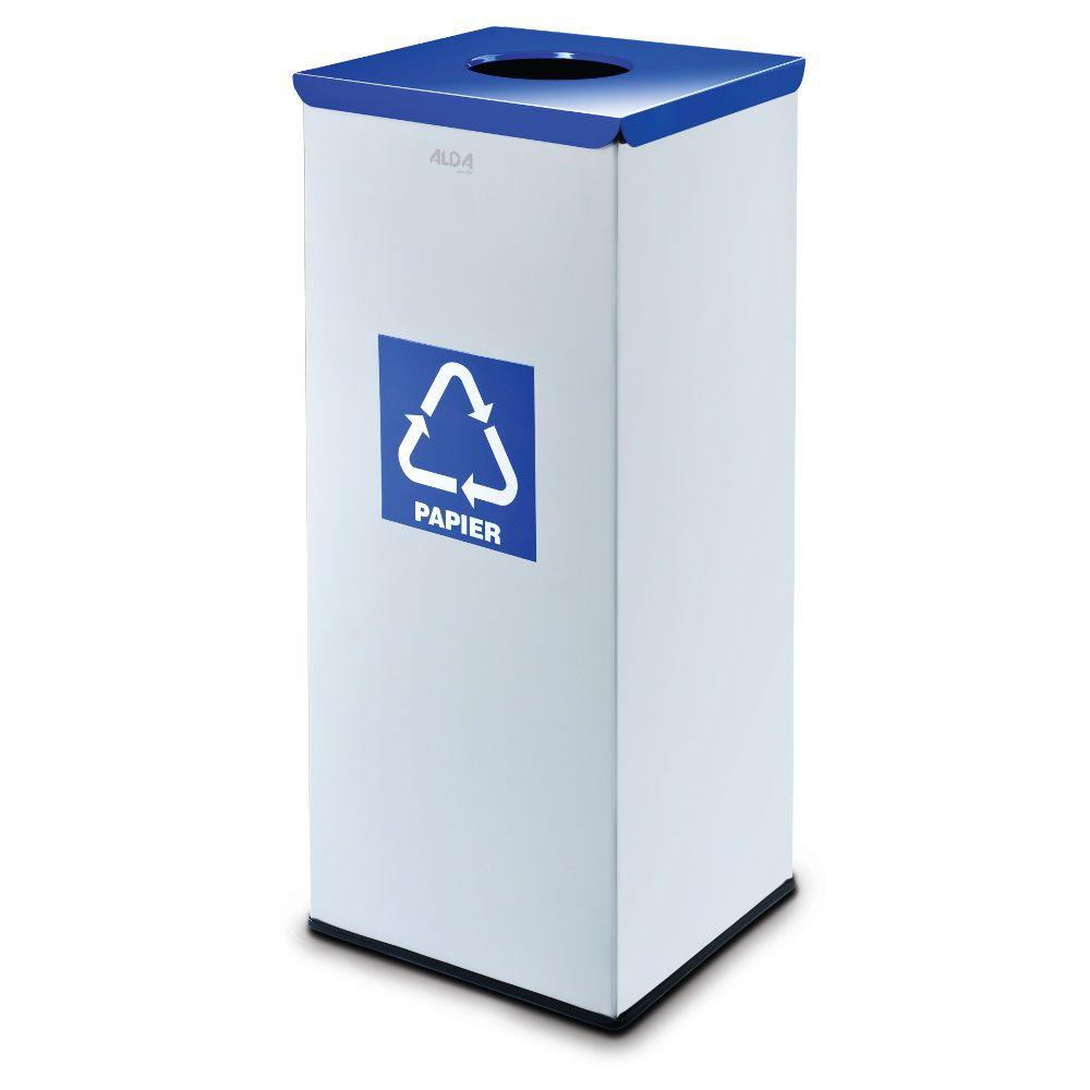 Kovový koš na tříděný odpad 50 l, Stříbrný - Modrý