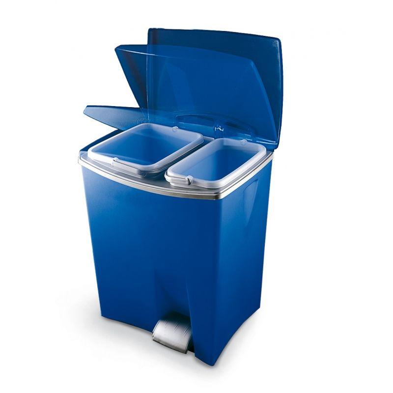 Pedálový odpadkový koš Duetto - Modrý, 20+10 litrů