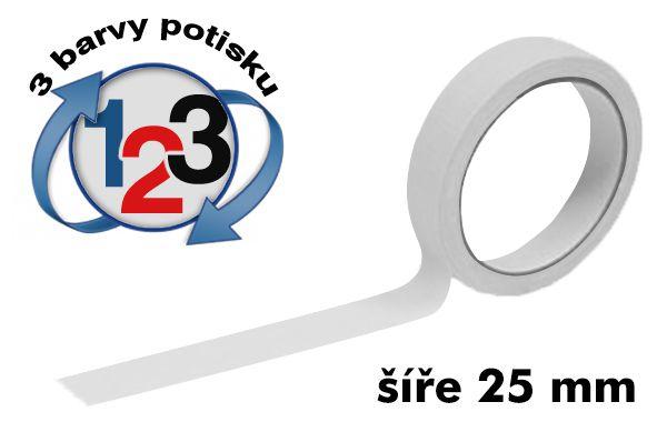 Bílá potištěná lepící páska 25mm 3 barvy tisku A-Z Reklama CZ