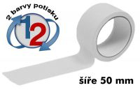 Bílá potištěná páska 50mm 2 barvy