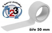 Bílá potištěná páska 50mm 3 barvy
