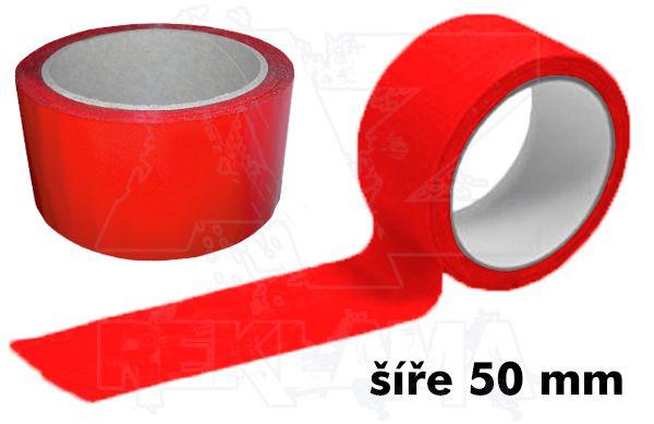 Červená lepící páska šíře 50mm bez potisku