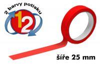 Červená potištěná páska 25 2 barvy