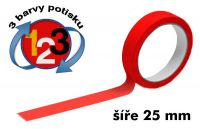 Červená potištěná páska 25 3 barvy