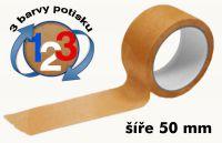 Čirá potištěná páska 50mm 3 barvy