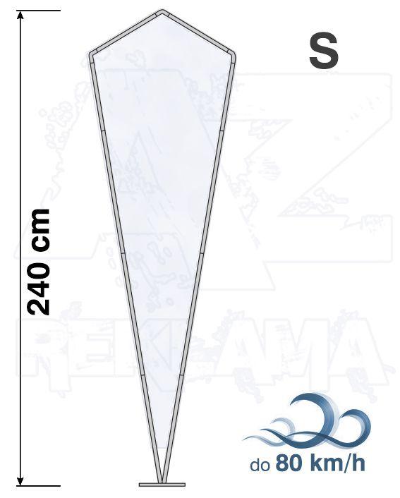 Muší křídlo tvar Crystal, výška 240cm - S samotná nosná konstrukce bez stojanu a vlajky