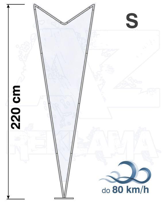 Muší křídlo tvar Dart, výška 220cm - S samotná nosná konstrukce bez stojanu a vlajky