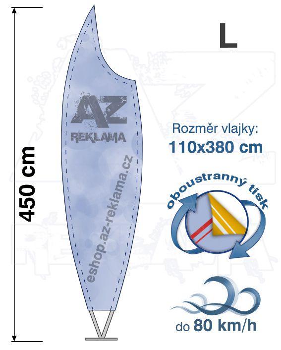 Muší křídlo tvar Moon, do 80km/h, výška 450cm - L oboustranný tisk - SET bez stojanu
