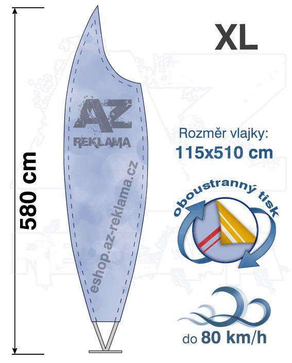 Muší křídlo tvar Moon, do 80km/h, výška 580cm - XL oboustranný tisk - SET bez stojanu A-Z Reklama CZ