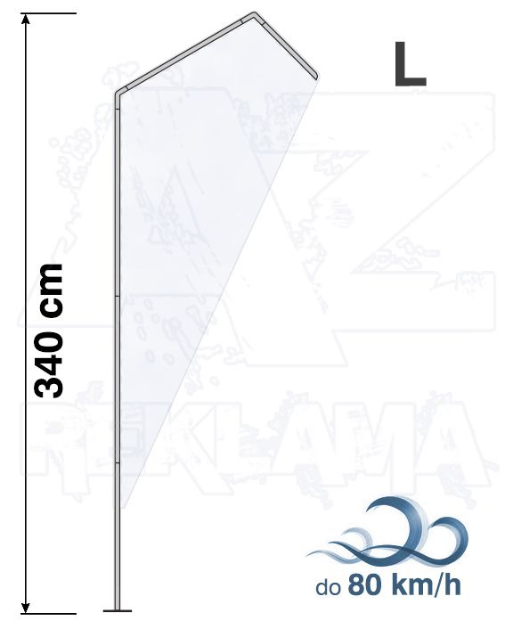 Muší křídlo tvar Razor, výška 340cm - L samotná nosná konstrukce bez stojanu a vlajky