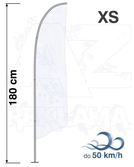 Muší křídlo tvar Šikmý, výška 180cm - XS samotná nosná konstrukce bez stojanu a vlajky