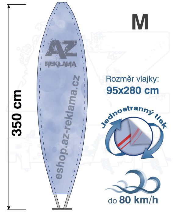 Muší křídlo tvar Surfer, do 80km/h, výška 350cm - M jednostranný tisk - SET bez stojanu