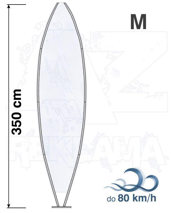 Muší křídlo tvar Surfer, výška 350cm - M samotná nosná konstrukce bez stojanu a vlajky