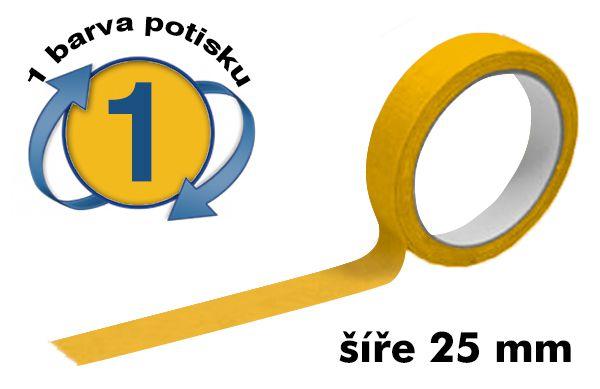 Žlutá potištěná lepící páska 25mm 1 barva tisku A-Z Reklama CZ