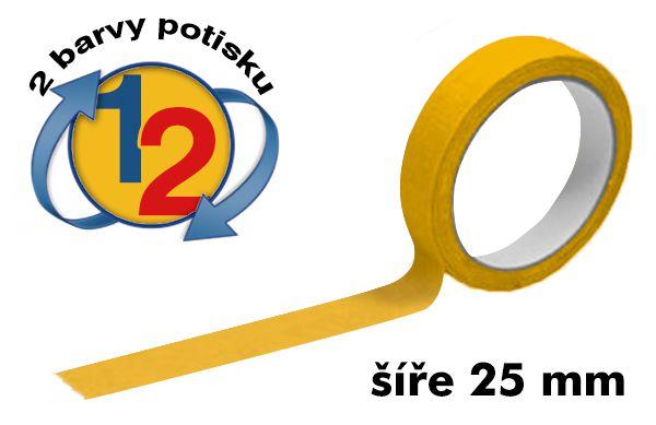 Žlutá potištěná lepící páska 25mm 2 barvy tisku A-Z Reklama CZ