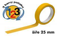 Žlutá potištěná páska 25mm 3 barvy