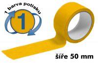 Žlutá potištěná páska 50mm 1 barva