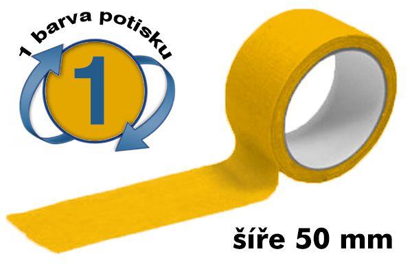 Žlutá potištěná lepící páska 50mm 1 barva tisku A-Z Reklama CZ