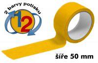 Žlutá potištěná páska 50mm 2 barvy