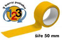 Žlutá potištěná páska 50mm 3 barvy