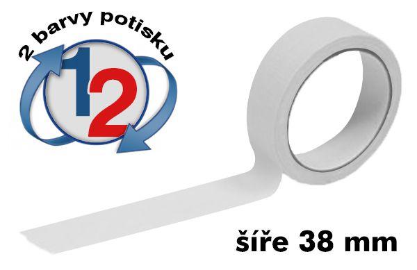 Bílá potištěná lepící páska 38mm 2 barvy tisku A-Z Reklama CZ