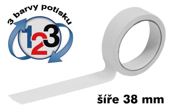 Bílá potištěná lepící páska 38mm 3 barvy tisku A-Z Reklama CZ