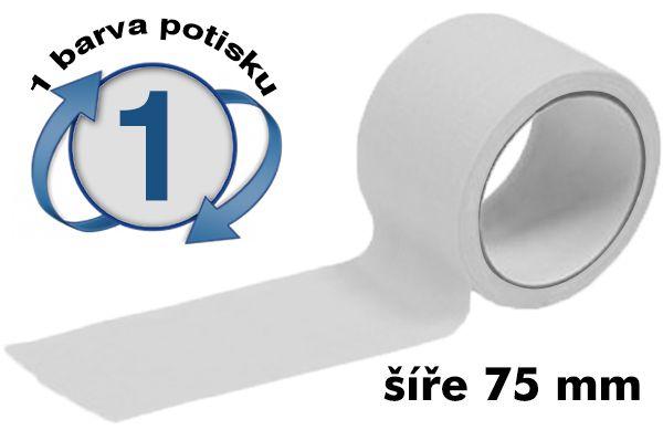 Bílá potištěná lepící páska 75mm 1 barva tisku A-Z Reklama CZ