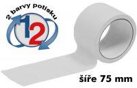 Bílá potištěná páska 75mm 2 barvy