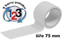 Bílá potištěná páska 75mm 3 barvy