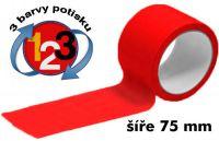 Červená potištěná páska 75 3 barvy