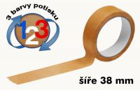 Čirá potištěná páska 38mm 3 barvy