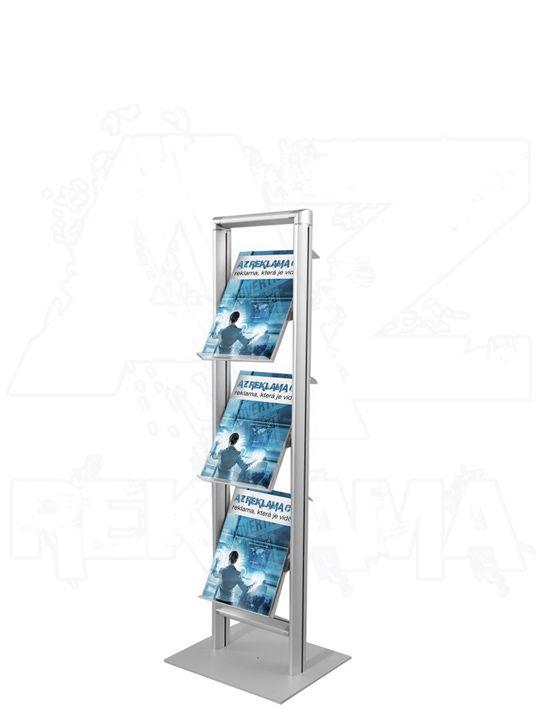Hliníkový stojan na letáky v rámu COMPACT 3xA4 A-Z Reklama CZ