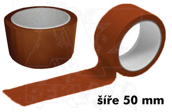 Hnědá lepící páska šíře 50mm bez potisku