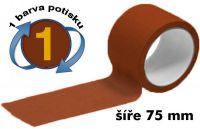 Hnědá potištěná páska 75mm 1 barva