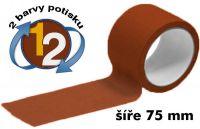 Hnědá potištěná páska 75mm 2 barvy