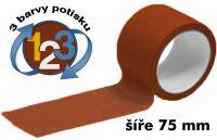 Hnědá potištěná páska 75mm 3 barvy